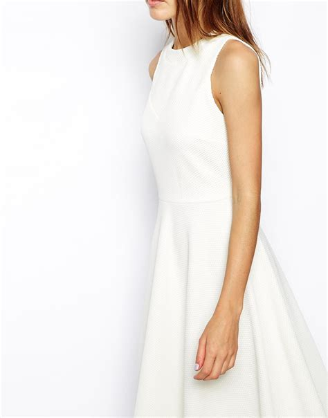Dress Wedges Texture lyst asos midi skater dress in texture with high neck in