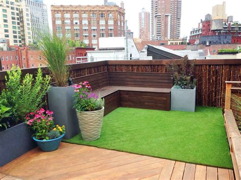 garden bench with roof tribeca rooftop garden bamboo fence artificial turf cedar bench planters