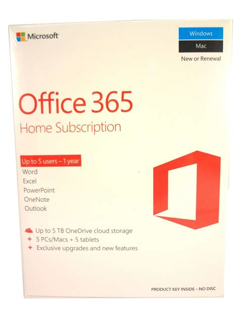 Office Yearly Subscription Microsoft Office 365 Home 1 Year Subscription 5 Users