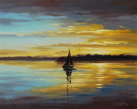 golden sunset painting by graham gercken