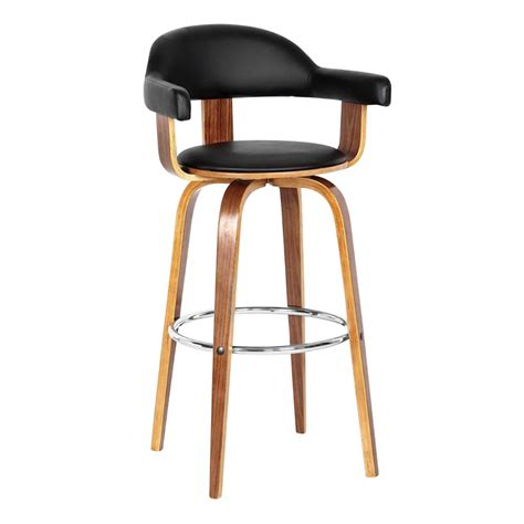 bar stool for kitchen walnut veneer black leather mid century kitchen breakfast