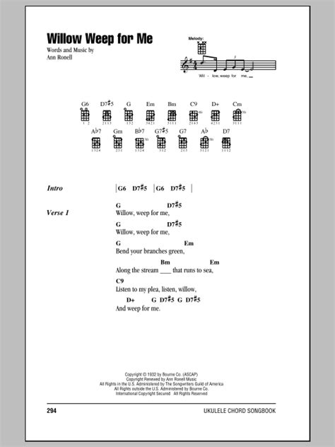 willow pattern lyrics willow weep for me sheet music by chad jeremy ukulele