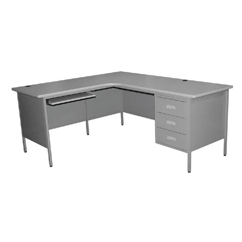 L Shaped Single Pedestal Steel Desk Galt Littlepage
