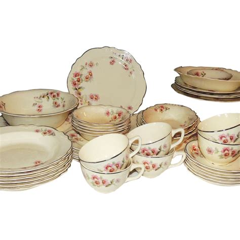 Antique Hutch Homer Laughlin Virginia Rose Dinnerware Dishes 44 Pc From