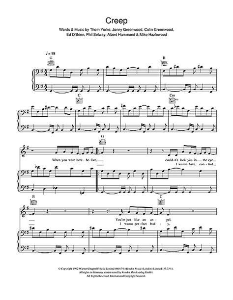 tutorial piano creep creep sheet music by radiohead piano vocal guitar 41381