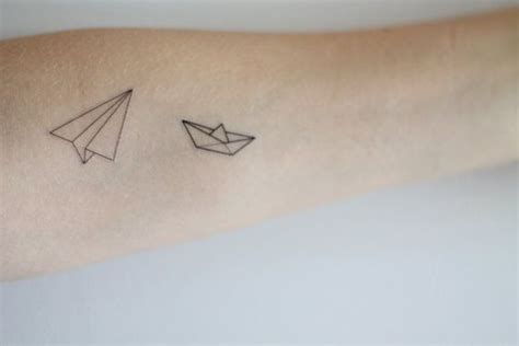 paper boat tattoo paper boat and airplane temporary set