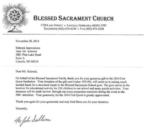 Thank You Letter For Donation Church Blessed Sacrament Church 2014 Quest