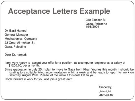 elegant reply for job offer letter acceptance free cover letter