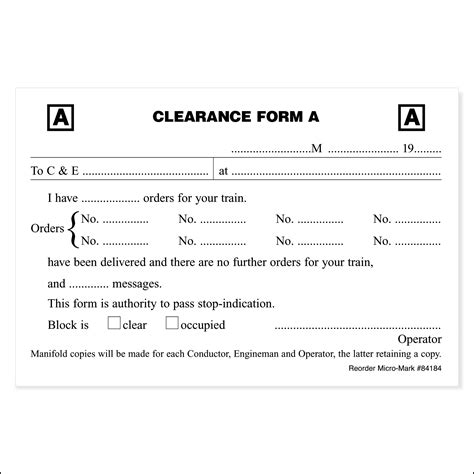 clearance form clearance form a pkg of 5 pads