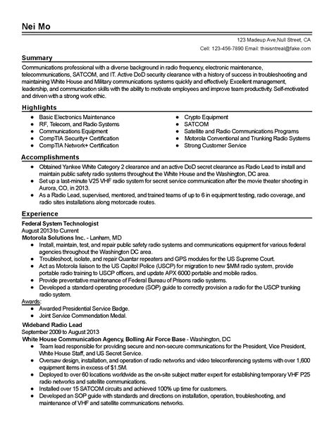 .security clearance resume example examples of resumes on