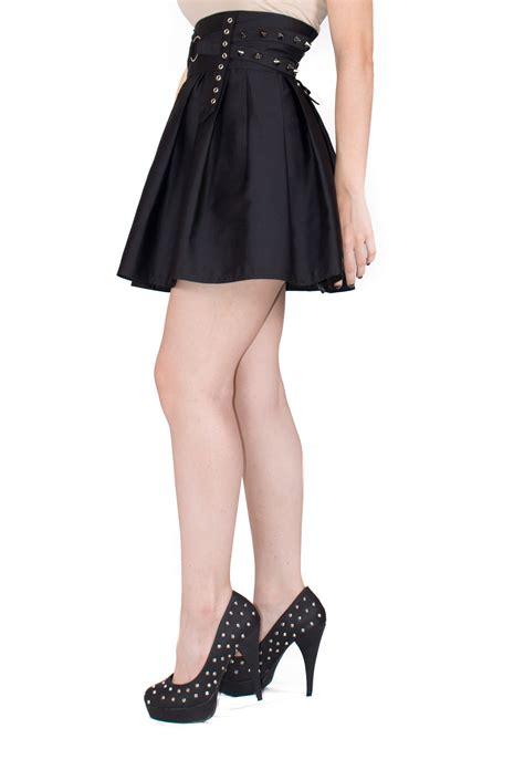 black spiked skater skirt high waisted skirt