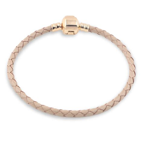 gold brown genuine leather bracelet chain fit for charms
