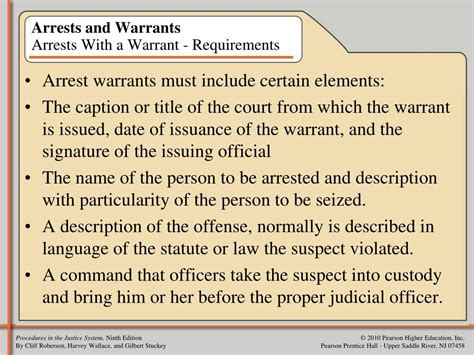 Search Warrants Requirements Ppt Chapter Three Arrest And Custody Powerpoint Presentation Id 614222