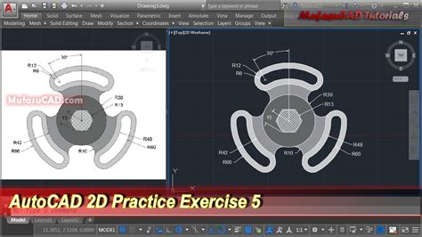 tutorial autocad step by step autocad 2d practice drawing exercise 5 basic tutorial