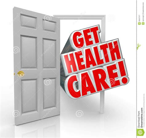 get health care insurance coverage open door royalty free