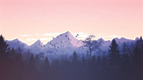 minimalist mountains download minimalism birds mountains trees forest 1366x768