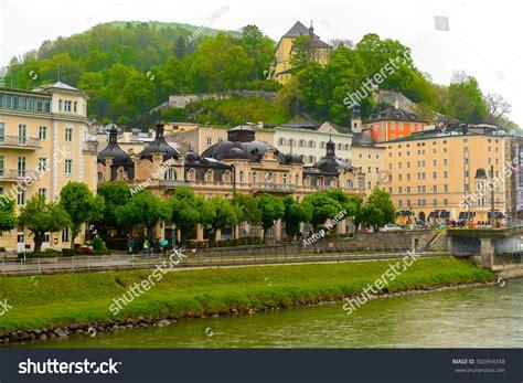 bank austria salzburg filialen salzburg austria may 1 2016 houses stock photo 502894348