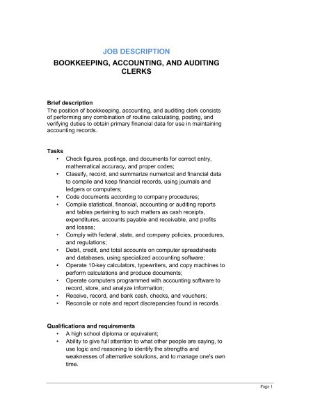 bookkeeper description 11 bookkeeper descriptions slebusinessresume
