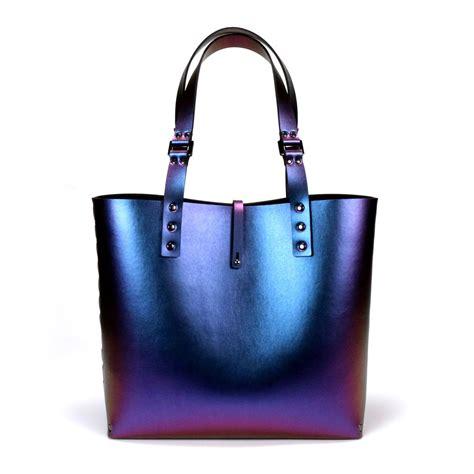 An It Bag by Peacock Tote Bag Cobalt Iridescent Tote Vegan Made