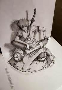 3d sketch yondaime hokage by iza nagi on deviantart