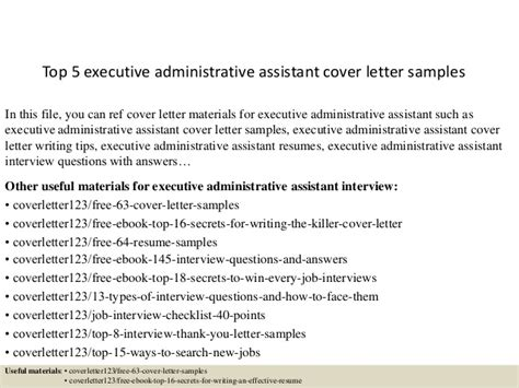 executive administrative assistant cover letter sles top 5 executive administrative assistant cover letter sles