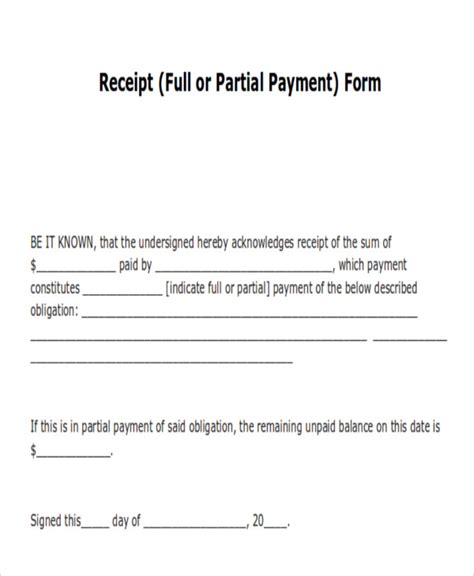 template of receipt of payment payment receipt acknowledgement 14 exles in word pdf