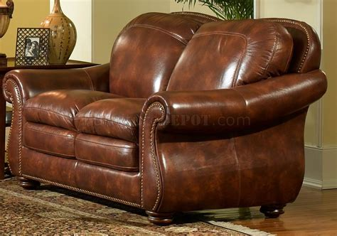 leather italia light brown hanover sofa loveseat set w