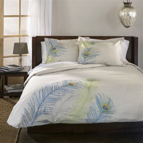 peacock bedding sets decorative embroidered peacock feather duvet set ebay
