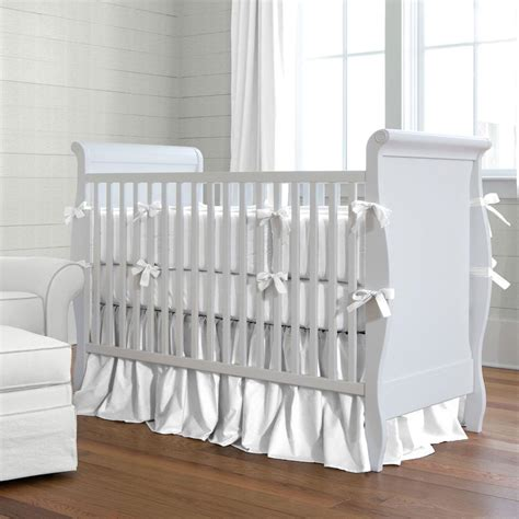 Solid White Crib Bumper Carousel Designs Baby Bumpers For Crib