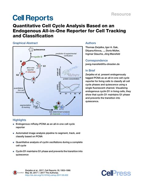 Mba Quantitative Analysis For Business Decisions Pdf by Quantitative Cell Cycle Analysis Based On An Endogenous
