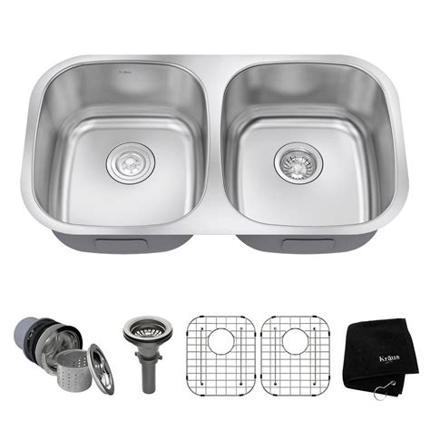Kitchen Sink Kit Kraus Undermount Stainless Steel 32 In 50 50 Basin Kitchen Sink Kit Kbu22 The Home Depot