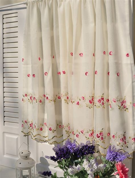 curtain tiers french country floral rose embroidered cafe kitchen
