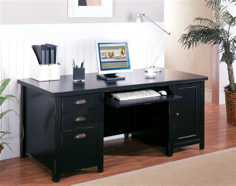 Tribeca Loft Black Double Pedestal Computer Desk Black Office Desk For Home