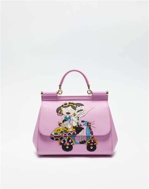 Lollipops Pink Patch Medium Bag by Medium Sicily Bag With Dg Family Patch Dolce Gabbana