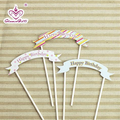 Flag Paper Baymax Happy Birthday quot happy birthday quot flag cake cupcake topper paper straw with flag cake accessories child