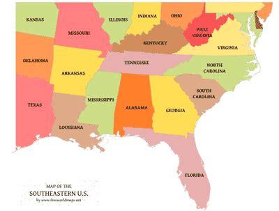 southeastern us political map by freeworldmaps.net