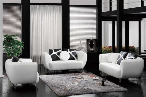 And Black Furniture For Living Room by Living Room Furniture With Black And White Leather Sofa Decoration Style Pictures 18
