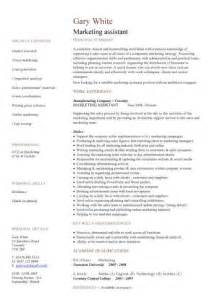 Marketing Assistant Sle Resume by Marketing Assistant Cv Sle