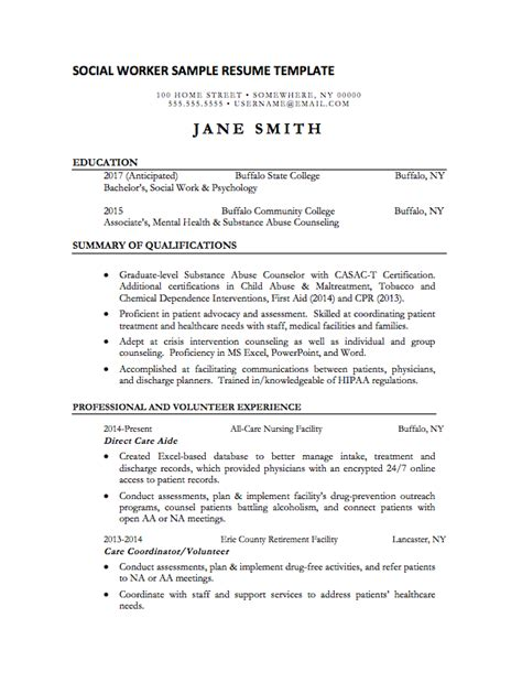 Social Work Resume Templates by Social Worker Resume Sle Internships