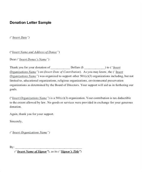 501 c 3 donation receipt template tax deductible donation letter docoments ojazlink