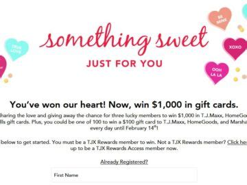 Tjx Rewards Sweepstakes - tjx rewards access something sweet sweepstakes and instant win game