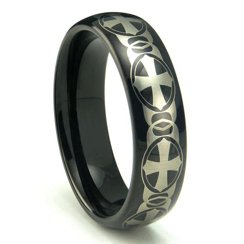 black tungsten carbide laser engraved celtic cross dome