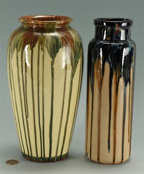 Weller Vase Prices Lot 413 2 Peters Amp Reed Shadow Ware Vases