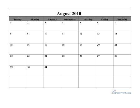 August 2010 Calendar Free Printable 2010 August Monthly Calendar