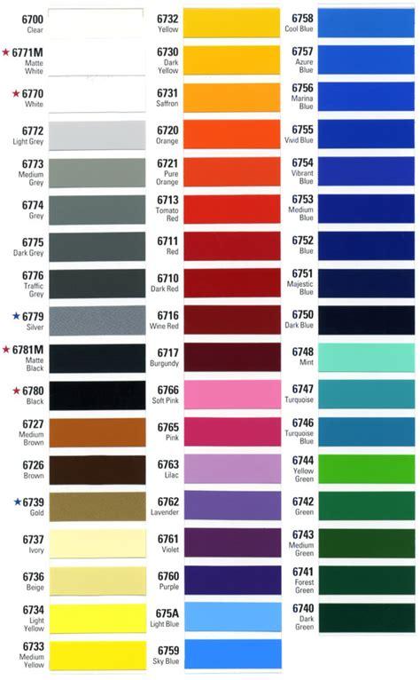 custom orders vinyl decals color chart mercurydecals