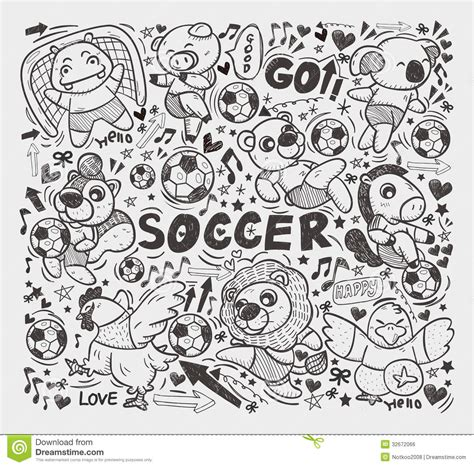 doodle soccer doodle animal soccer player element royalty free stock