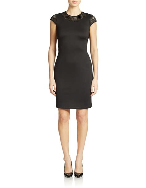Cap Sleeve Sheath Dress calvin klein lasercut cap sleeve sheath dress in black lyst