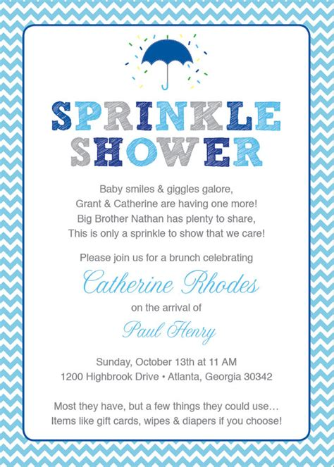 baby shower sprinkle invitations blue baby sprinkle shower invitation blue grey chevron