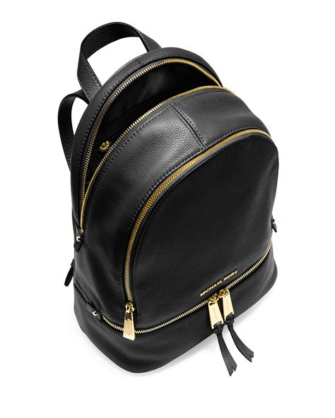 small backpack michael michael kors rhea small zip backpack in black lyst