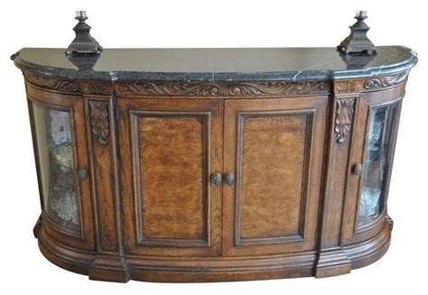 henredon buffet with marble top glass doors